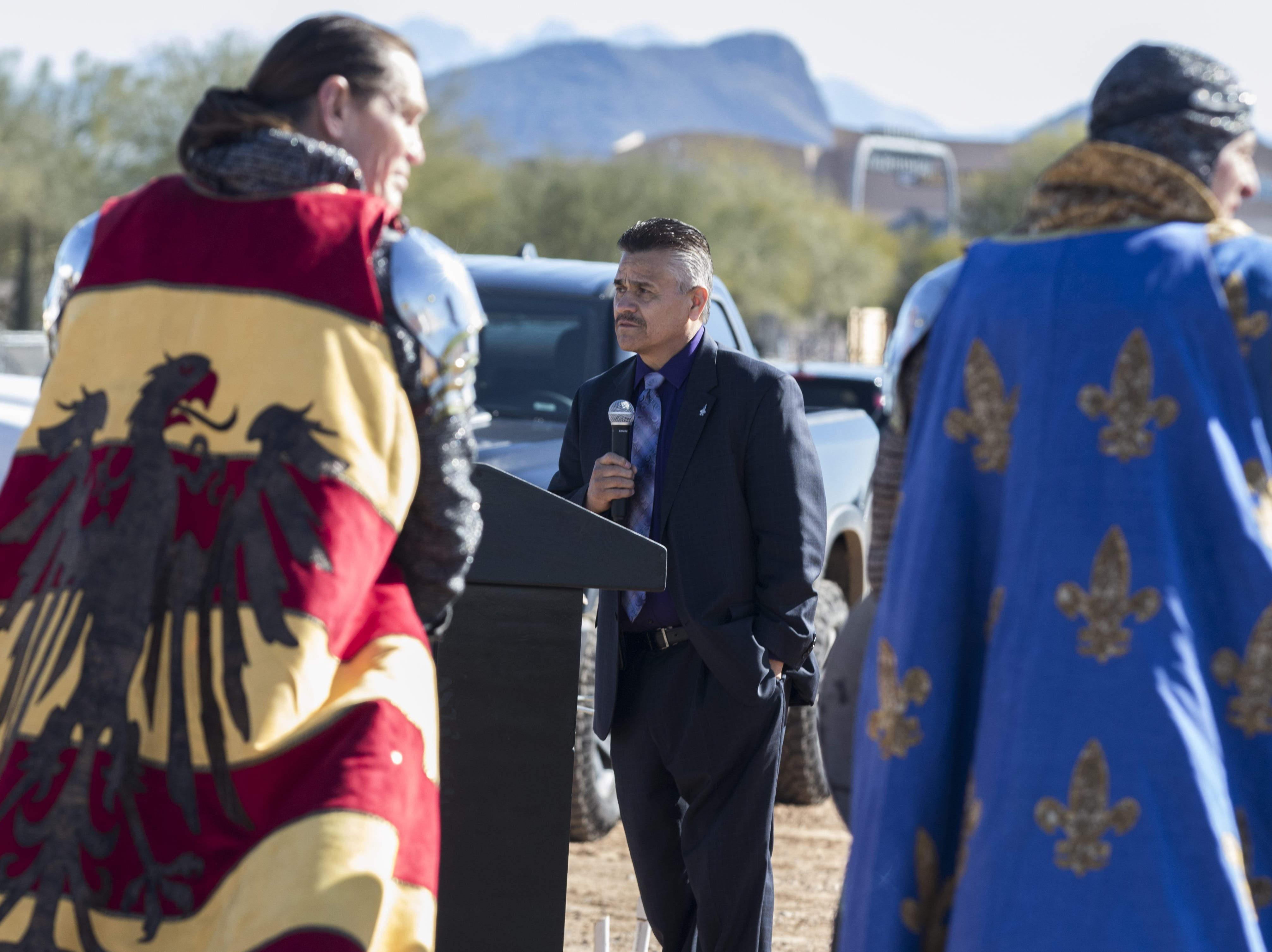Salt River Pima-Maricopa Indian Community President Martin Harvier addresses a crowd on hand to watch the final piece of steel being placed on the Medieval Times castle coming to the Talking Stick Entertainment District in Scottsdale, Feb, 20, 2019.
