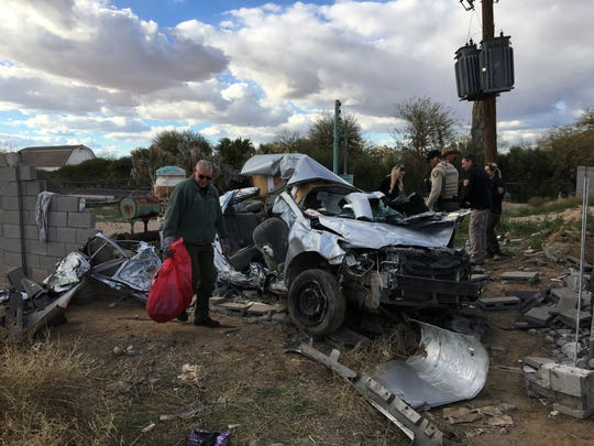 The vehicle crashed near Schnepf and Ocotillo roads on Feb. 19, 2019.