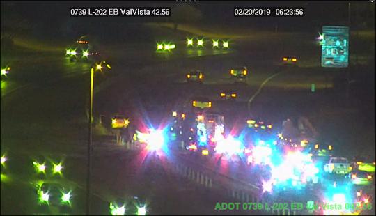 Phoenix Police motor officer injured in crash on Loop 202 eastbound near Val Vista Drive