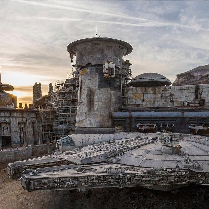 The Millennium Falcon is parked inside Star Wars:...