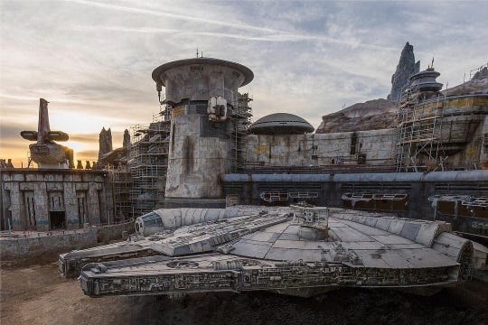 The Millennium Falcon is parked inside Star Wars: Galaxy's Edge, scheduled to open in June at Disneyland.