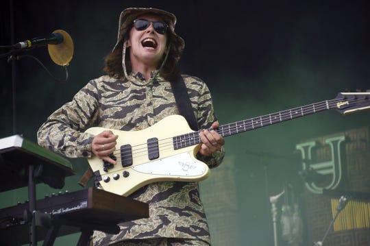 Tom McFarland of Jungle performs during the Rock-en-Seine music festival in Saint-Cloud near Paris on August 30, 2015.