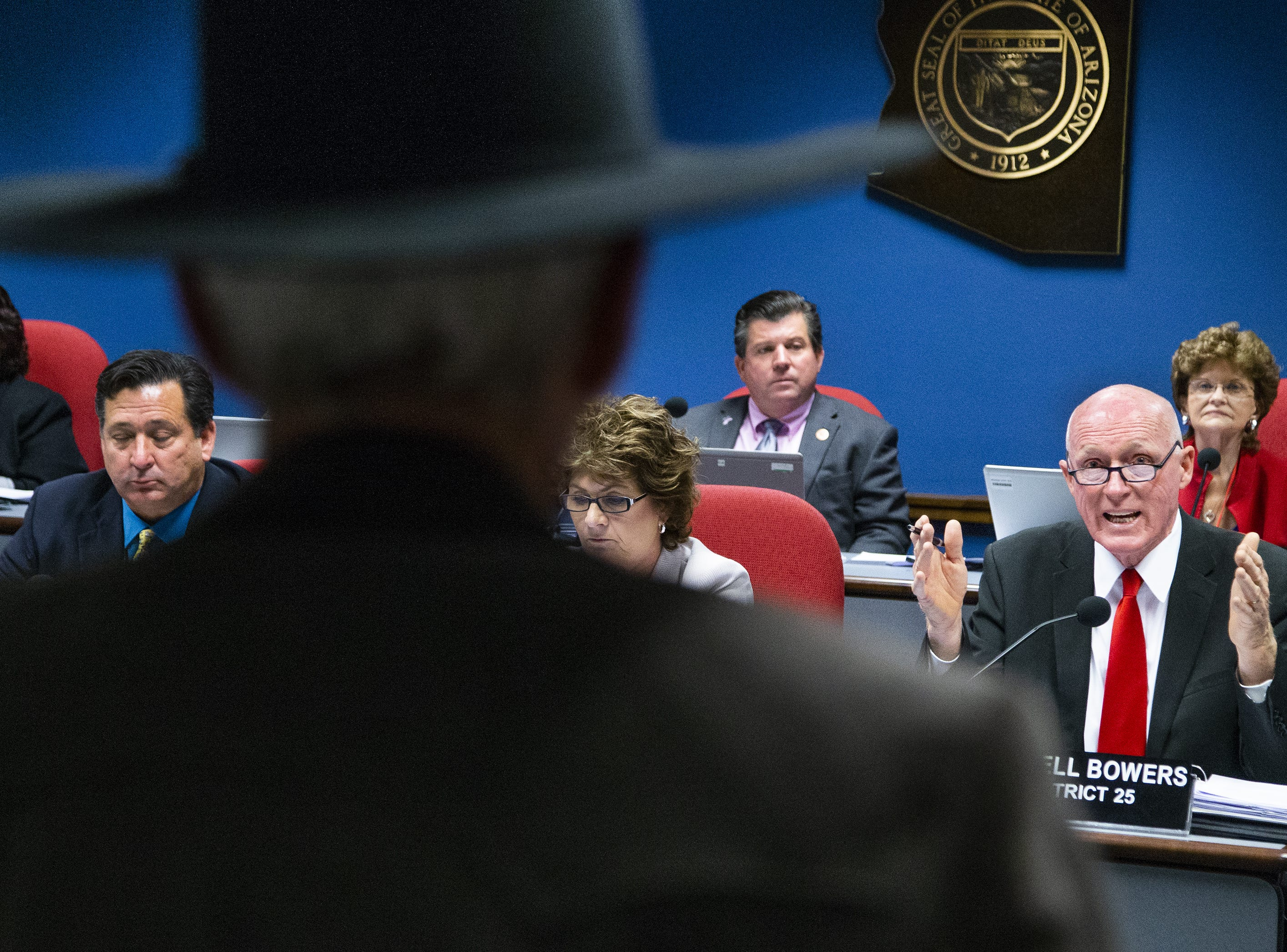 Arizona House Speaker Rusty Bowers addresses rancher Richard Kaler of Duncan, Arizona, during a hearing of the House Natural Resources, Energy and Water Committee, Feb. 19, 2019. Kaler had questions about House Bill 2476, the water bill.