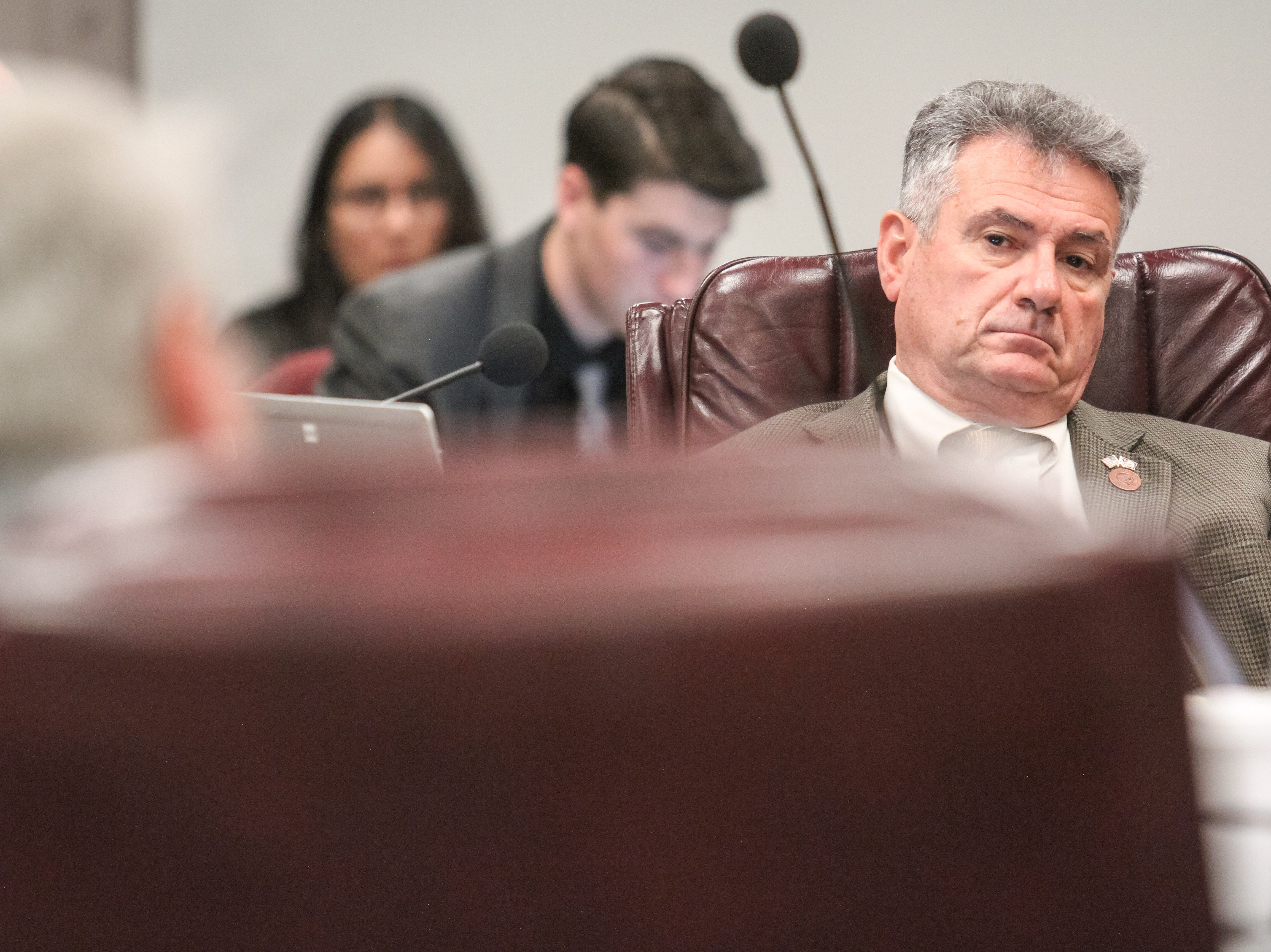 Sen. Sonny Borrelli listens during a Senate Transportation and Public Safety hearing at the Arizona State Capitol in Phoenix, Arizona on Wednesday, Feb. 20, 2019.