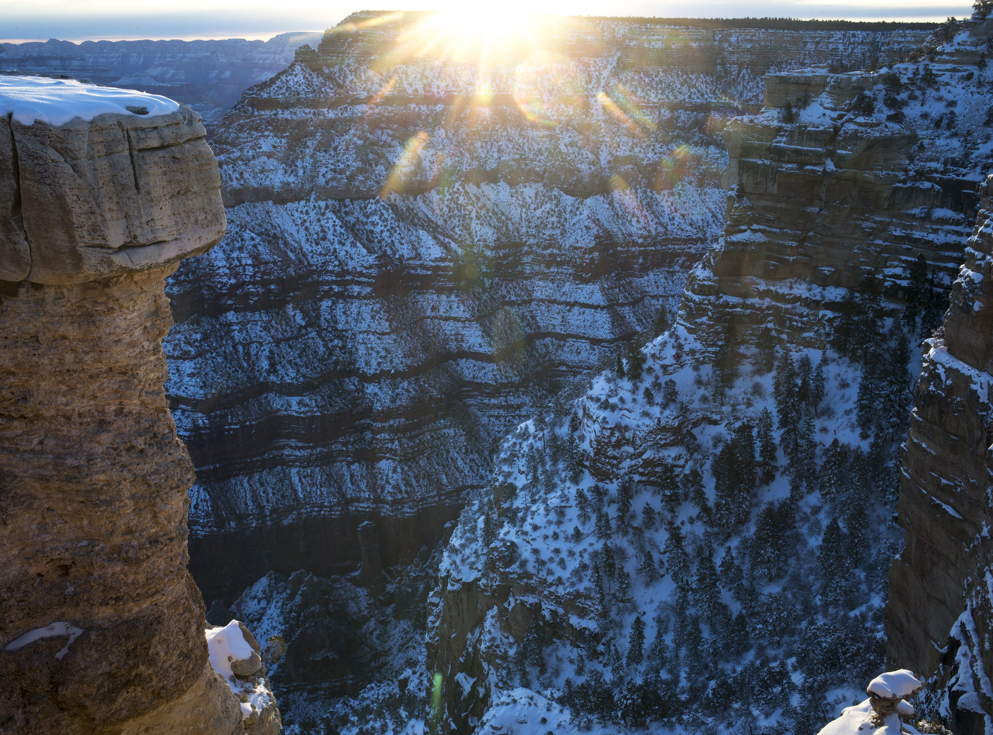 Sunrise at Mather Point on Feb. 20, 2019, at the South Rim of Grand Canyon National Park, Arizona.