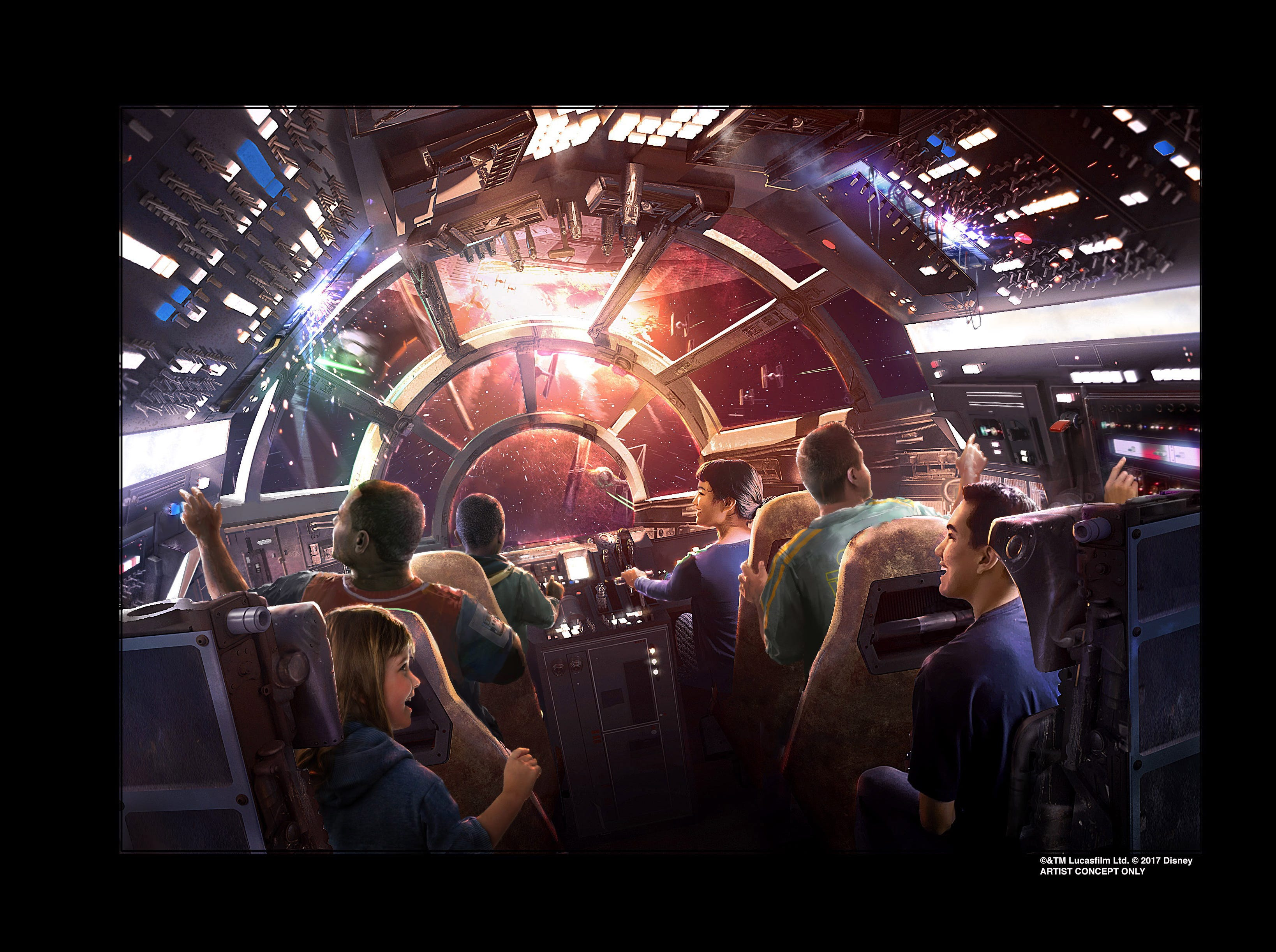 Six guests at a time will pilot the iconic  Millennium Falcon in one of two rides at Star Wars: Galaxy's Edge, due to open in June. It's the park's largest expansion in its 63-year history.