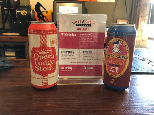 Special release cans for Snitz Creek Brewery's Opera Fudge Stout and Seltzer's Smokehaus No. 7 are still available, along with great dine-in specials every day of the week.