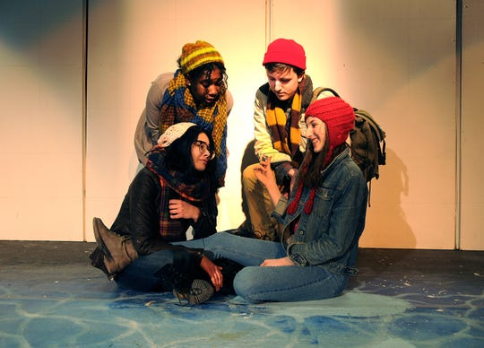 """Oakwood Friends School will stage """"Rosencrantz and Guildenstern are Dead"""" this weekend. Pictured during rehearsal are, clockwise from back left,  students Ann Pierre Louis, Elias Fredericks, Oona Sullivan and Isabella Kramb."""