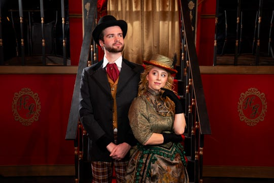 """Michael Major, as Horace Vandergelder, and Liana Frasca, as Dolly Levi, are shown in rehearsal for Marist College's production of """"Hello, Dolly!"""" directed by Matt Andrews."""