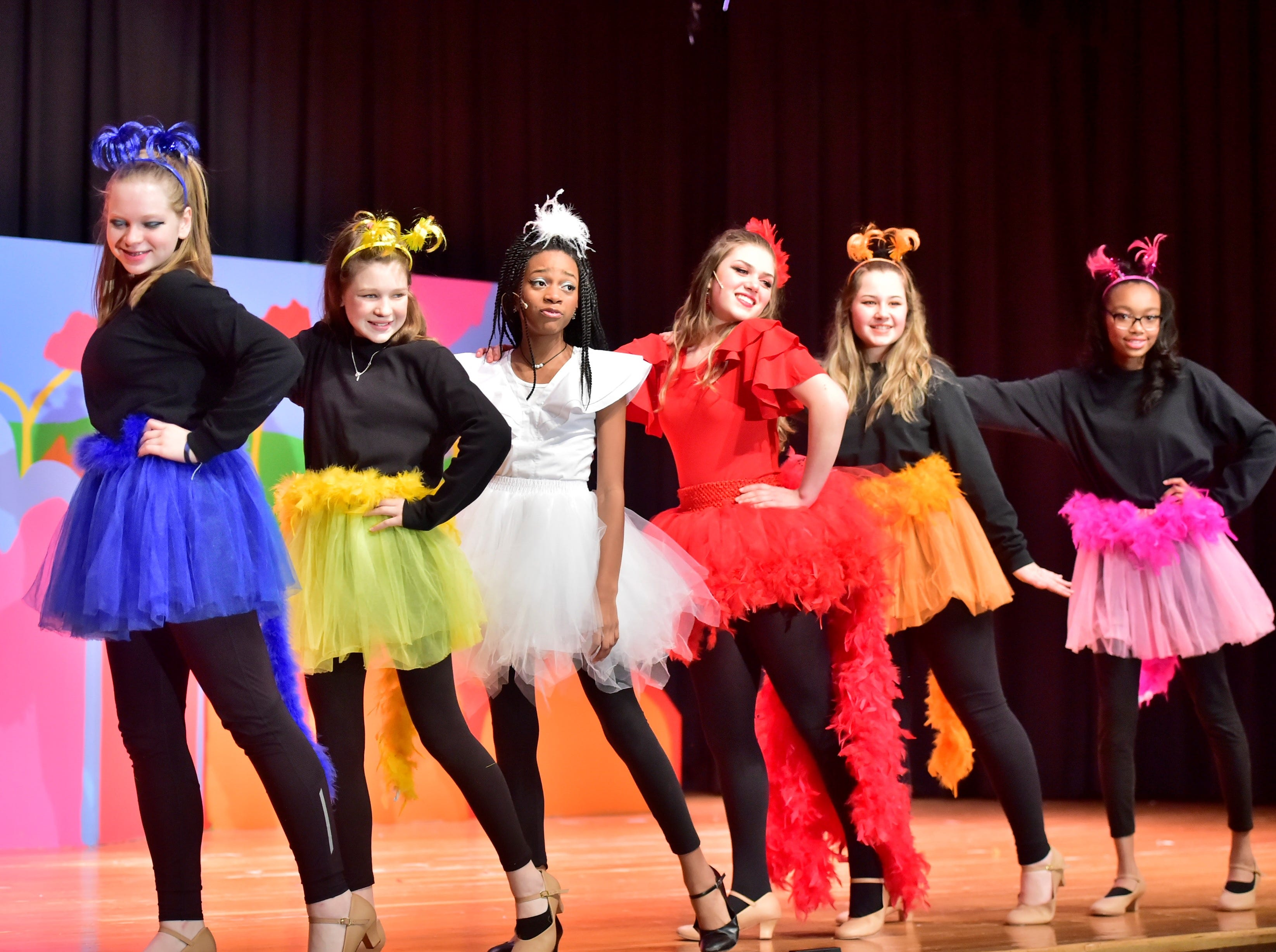 "The Bird Girls, alongside Gertrude McFuzz and Amazing Mayzie, perform a dance during a dress rehearsal for ""Seussical Jr."" on Feb. 19, 2019. Pictured are, from left: Caroline Dagnes, Zoe Ward, Jayla Womack, Zoey Wolfe, Alexis Coffey and Laila Douglas. Chambersburg Area Middle School South Drama Club will present the production at 7 p.m. Friday and Saturday, Feb. 22 and 23, and 2 p.m. Saturday and Sunday, Feb. 23 and 24, in the CAMS South auditorium. For tickets, $8, go to www.showtix4u.com and look up CAMS South Seussical."