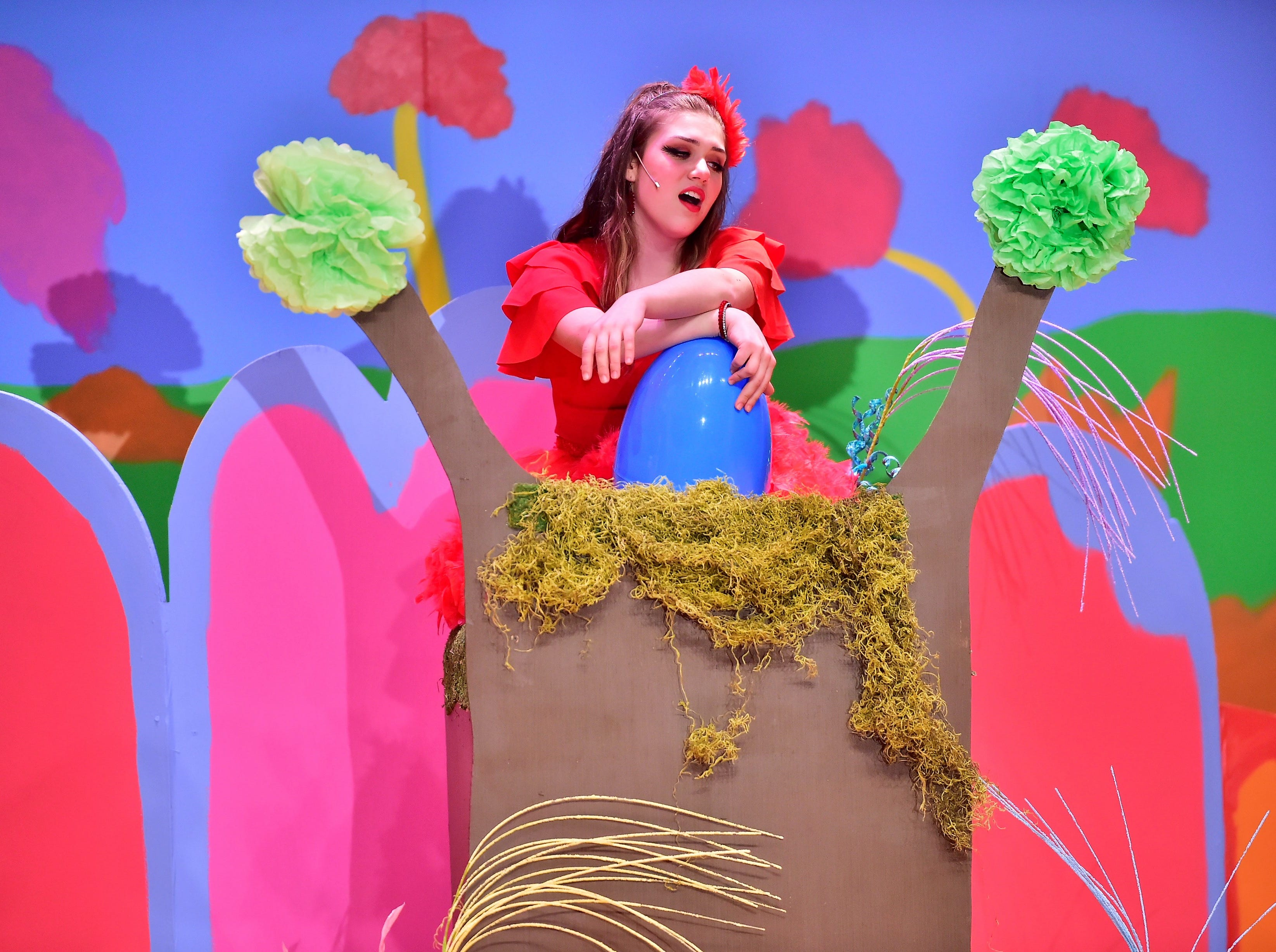 "Zoey Wolfe plays Amazing Mayzie, seen here during a dress rehearsal Tuesday, Feb. 19, 2019, for ""Seussical Jr."" Chambersburg Area Middle School South Drama Club will present the production at 7 p.m. Friday and Saturday, Feb. 22 and 23, and 2 p.m. Saturday and Sunday, Feb. 23 and 24, in the CAMS South auditorium. For tickets, $8, go to www.showtix4u.com and look up CAMS South Seussical."