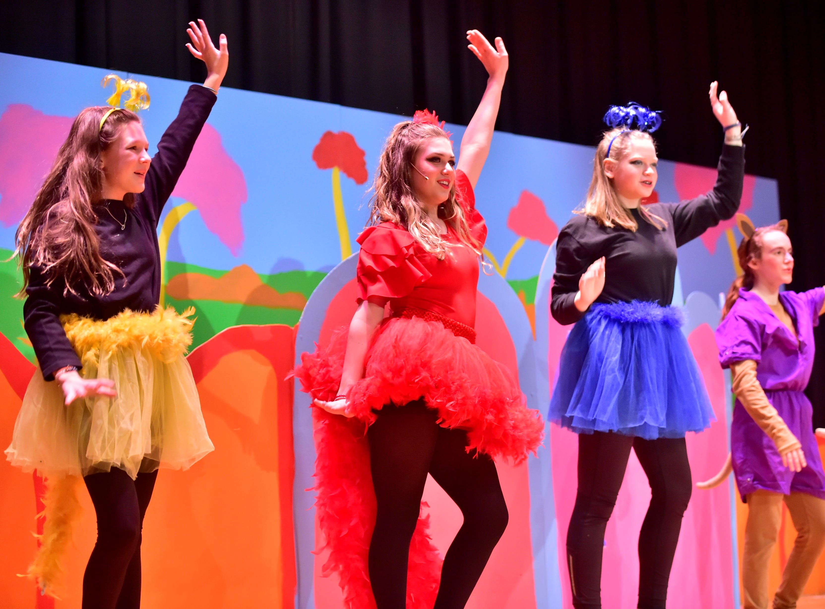 "Zoe Ward, Zoey Wolfe and Caroline Dagnes portray the Bird Girls (with Wolfe as Amazing Mayzie) in a scene in ""Seussical Jr."" during dress rehearsal on Feb. 19, 2019. Pictured in the background is Norah Kinton, playing Baby Kangaroo.  Chambersburg Area Middle School South Drama Club will present the production at 7 p.m. Friday and Saturday, Feb. 22 and 23, and 2 p.m. Saturday and Sunday, Feb. 23 and 24, in the CAMS South auditorium. For tickets, $8, go to www.showtix4u.com and look up CAMS South Seussical."