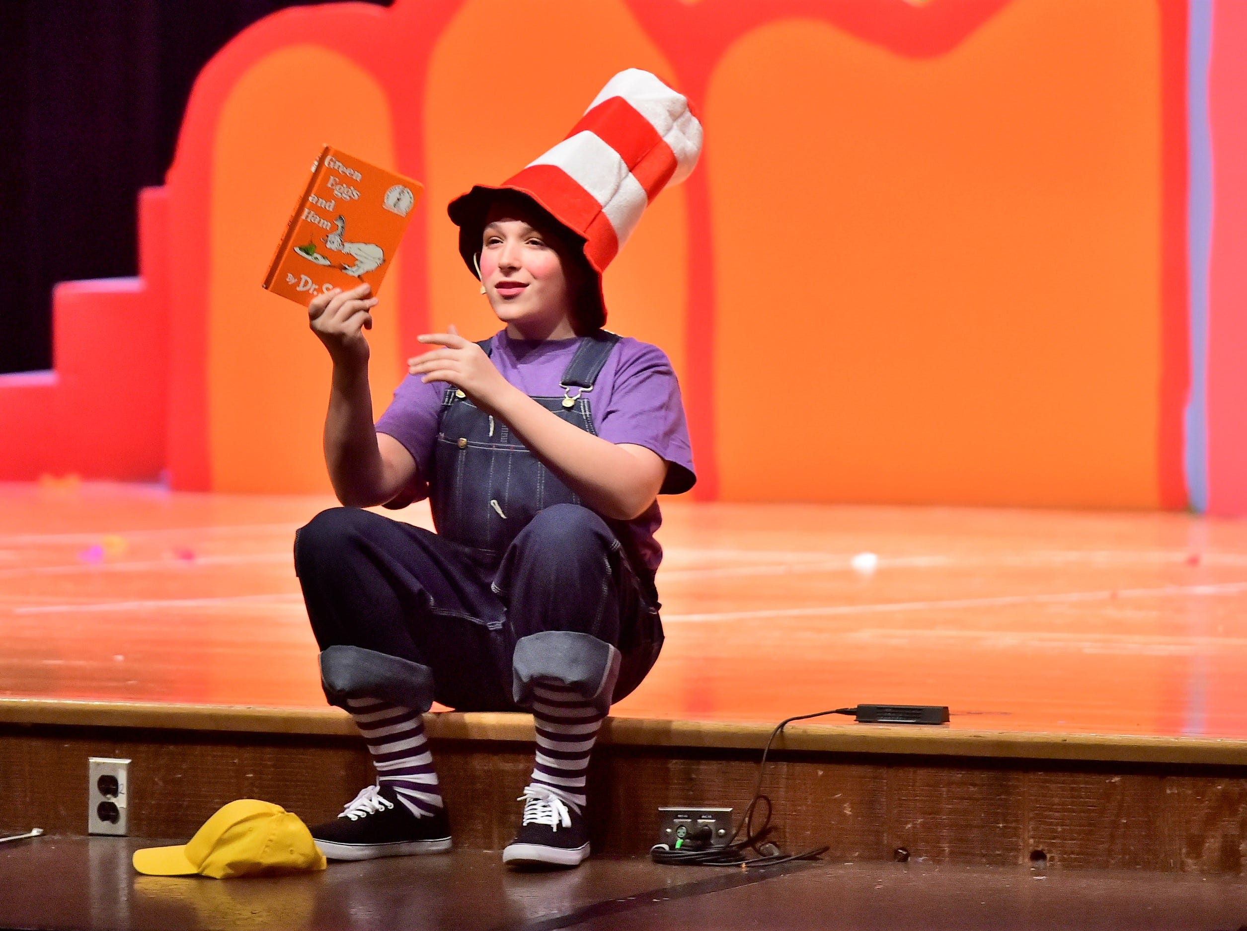 "Bradley Stahl, playing JoJo, holds the Dr. Seuss book, ""Green Eggs and Ham"" during a dress rehearsal Tuesday, Feb. 19, 2019, for ""Seussical Jr."" Chambersburg Area Middle School South Drama Club will present the production at 7 p.m. Friday and Saturday, Feb. 22 and 23, and 2 p.m. Saturday and Sunday, Feb. 23 and 24, in the CAMS South auditorium. For tickets, $8, go to www.showtix4u.com and look up CAMS South Seussical."