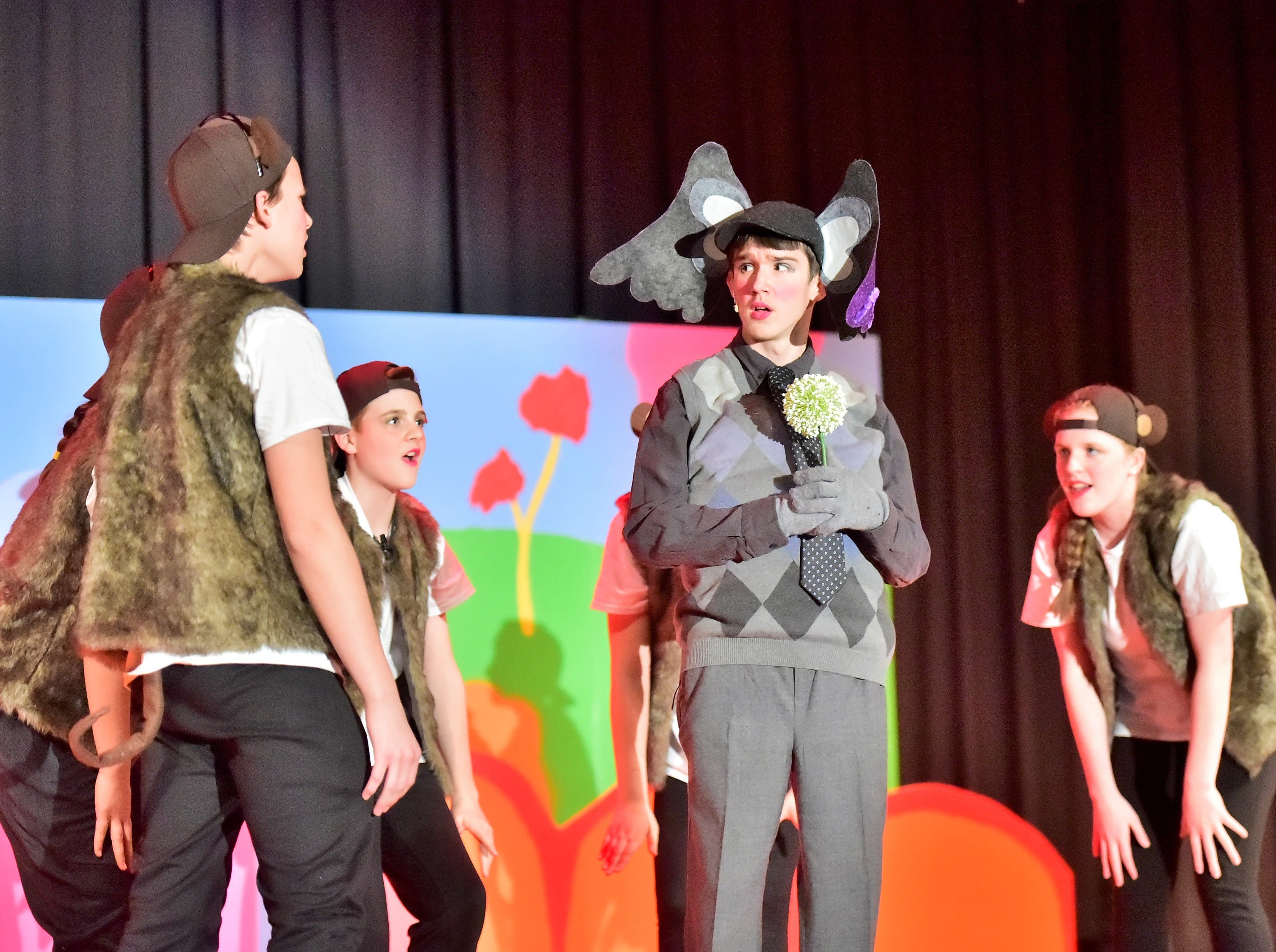 "The Whickersham Monkeys (played by Matthew Rosenberger, Katelyn Grace, Taylor McNamara, Ethan Wetherhold, Kayla Hall and Joseph Allison) surround Horton the Elephant (played by Jacob Picking) during a dress rehearsal Tuesday, Feb. 19, 2019, for ""Seussical Jr."" Chambersburg Area Middle School South Drama Club will present the production at 7 p.m. Friday and Saturday, Feb. 22 and 23, and 2 p.m. Saturday and Sunday, Feb. 23 and 24, in the CAMS South auditorium. For tickets, $8, go to www.showtix4u.com and look up CAMS South Seussical."