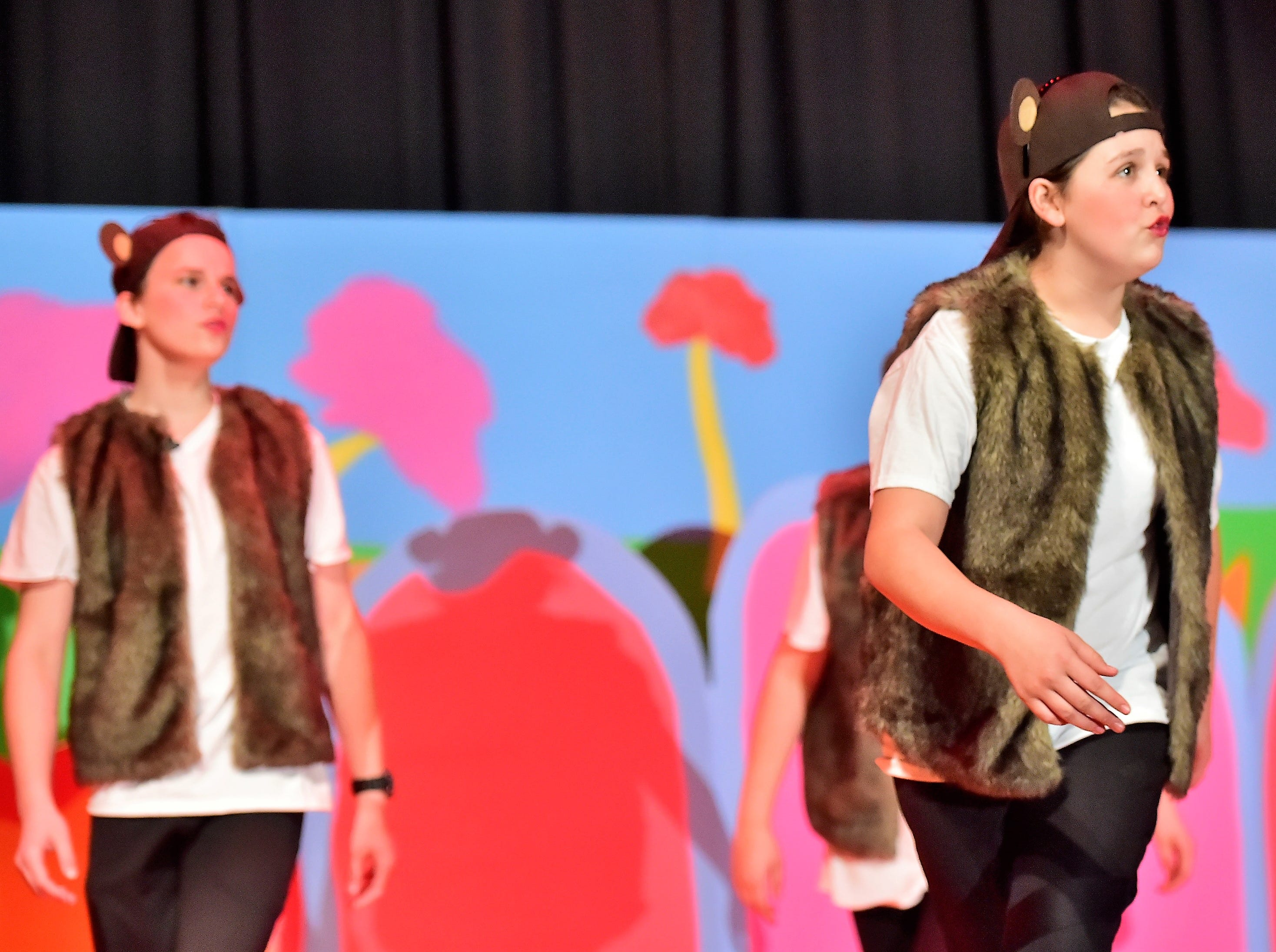 "Taylor McNamara (front) and Ethan Wetherhold (back) perform with the other Whickersham Monkeys during a dress rehearsal for ""Seussical Jr."" on Feb. 19, 2019. Chambersburg Area Middle School South Drama Club will present the production at 7 p.m. Friday and Saturday, Feb. 22 and 23, and 2 p.m. Saturday and Sunday, Feb. 23 and 24, in the CAMS South auditorium. For tickets, $8, go to www.showtix4u.com and look up CAMS South Seussical."