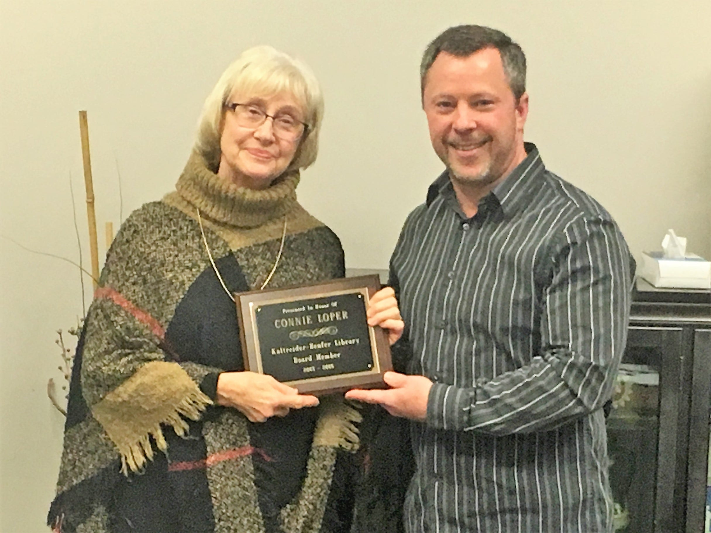 Kaltreider-Benfer Library honored long-time board member Connie Loper for her years of service from 2013-2018.  Ms. Loper served as Secretary of the Board from 2014-2018, and was instrumental in improving the library's fundraising and advocacy initiatives. Pictured are Connie Loper and John Fishel, President, Kaltreider-Benfer Library Board of Directors. submitted