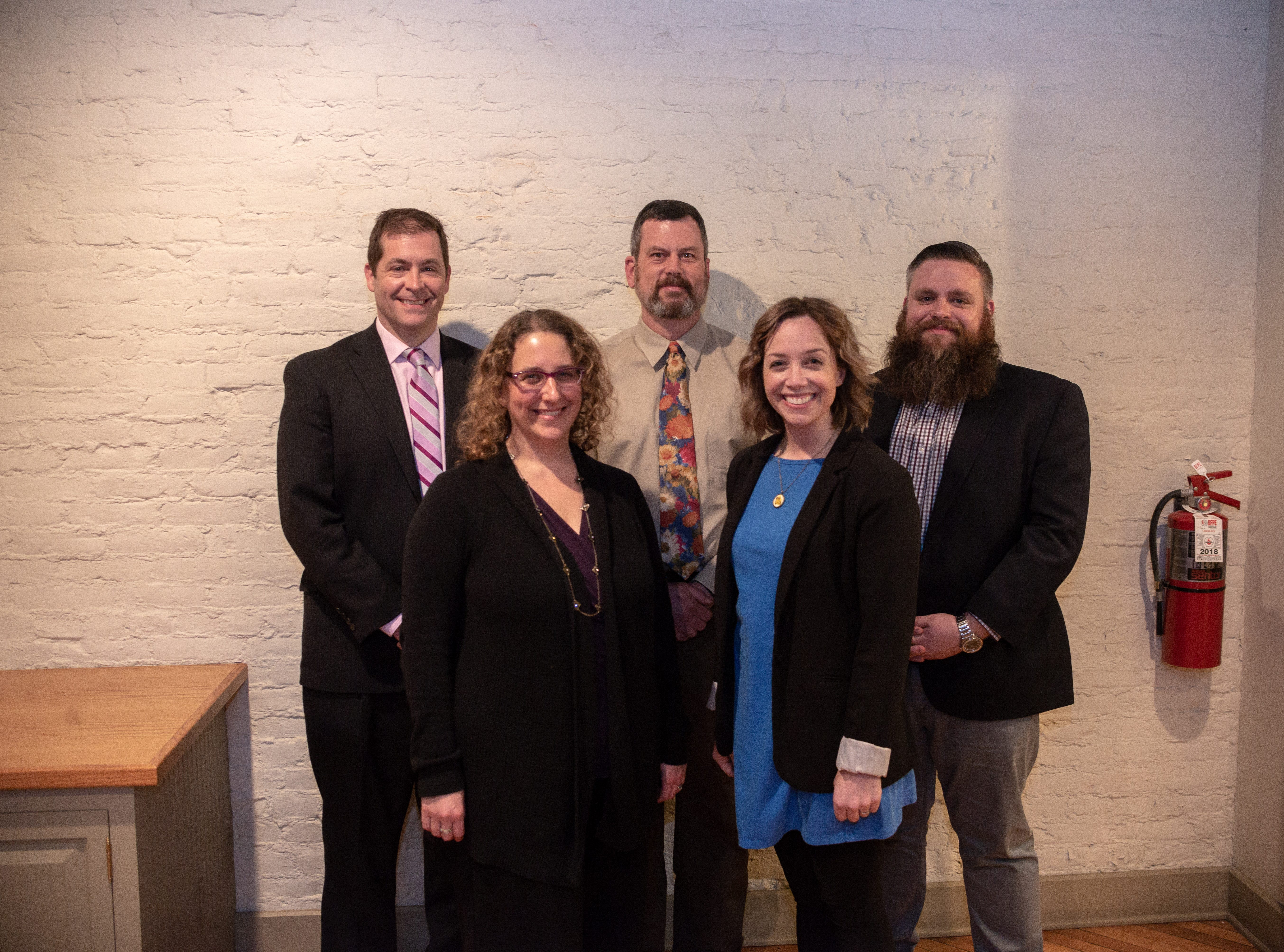 YORK (January 24, 2019)--The White Rose Leadership Institute is pleased to announce that five local nonprofit leaders have been named to the 2019 class of York Federal Fellows. This yearÕs fellows include Dr. Silas Chamberlin, Vice President, Economic & Community Development at York County Economic Alliance; Meagan Given, Executive Director of Give Local York; Dr. Shari Kim, CEO of Susquehanna Valley Community Mental Health Services; Tom O'Connor, President of Leg Up Farm; and Tony Schweitzer, Executive Director of Bell Socialization Services.The York Federal Fellows program offers outstanding nonprofit executive leaders the opportunity to spend a year developing professionally and personally while expanding their leadership skills. With a grant of up to $5,000 each, the executives pursue their development and connect with their nonprofit peers during regular workshop sessions throughout the year. Pictured from left are Tom OÕConnor, Shari Kim, Tony Schweitzer, Meagan Given and Silas Chamberlin. submitted