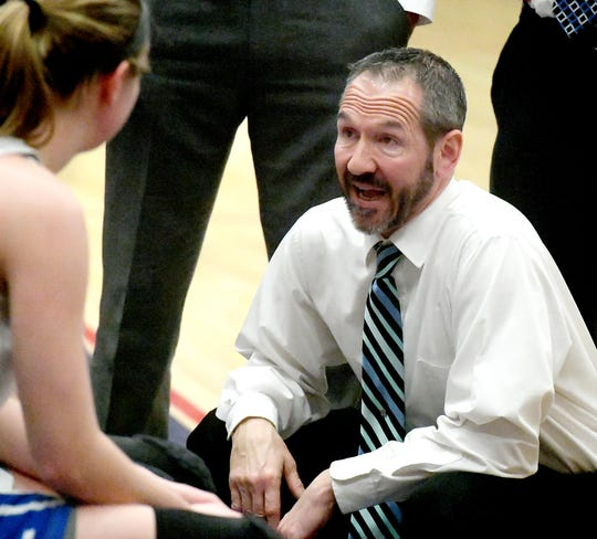 Spring Grove coach Troy Sowers talks with his team during a District 3 Class 5-A girls' basketball game against Cocalico at Spring Grove Tuesday, Feb. 19, 2019. Spring Grove won 55-35. Bill Kalina photo