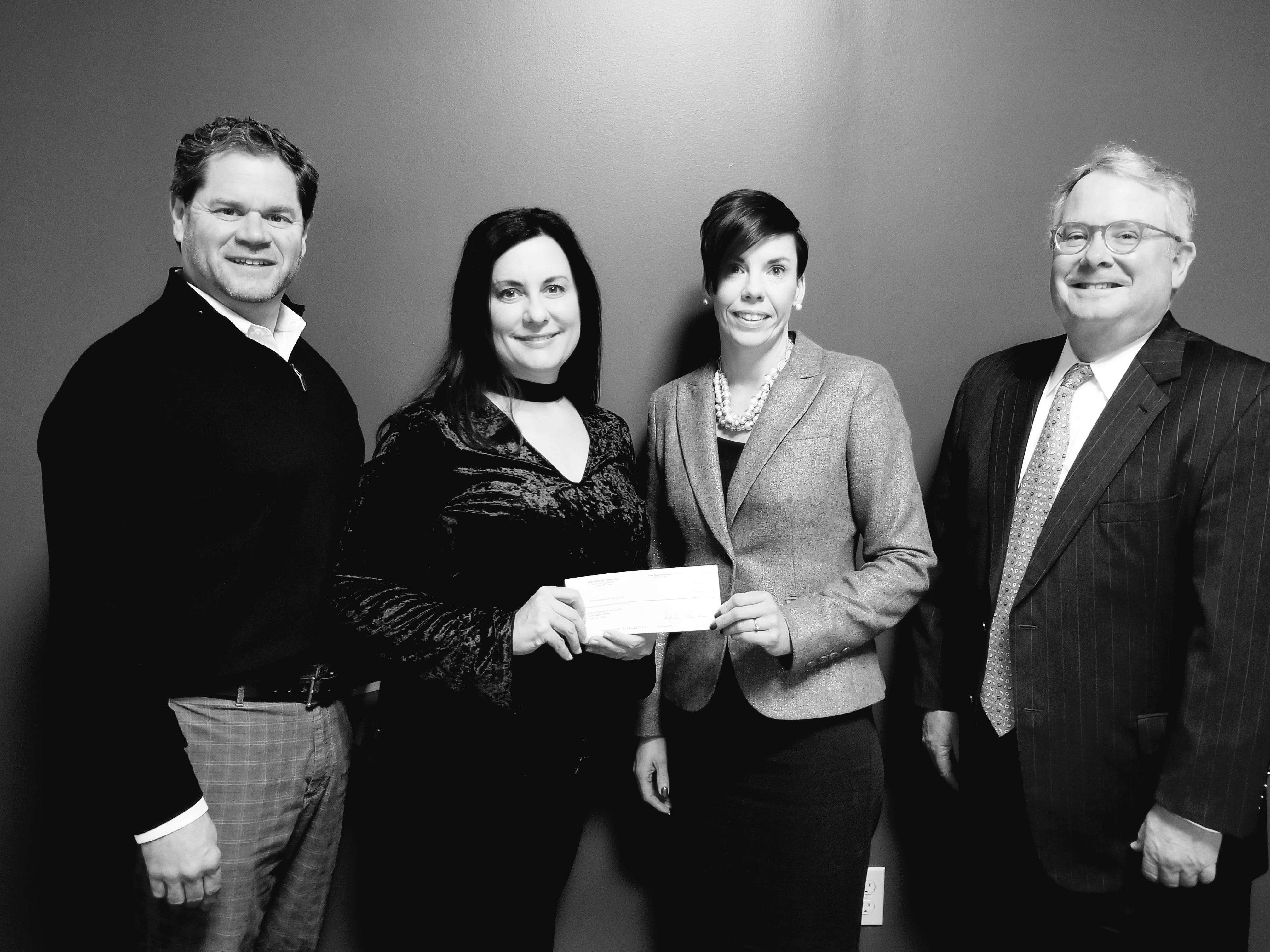 Victor's Italian Restaurant of York has made a $1,705 contribution to the Cultural Alliance of York County's 2018 annual campaign, raising dollars to support artists and arts organizations that bring meaningful arts experiences to thousands of community members each year.  The dollars were raised through a percentage of holiday gift card sales at the restaurant. Pictured are, from left, Victor's owners Mark and Marie Sindicich who present a check to Cultural Alliance President Kelley Gibson and Cultural Alliance Board Director James K. Fowler. submitted