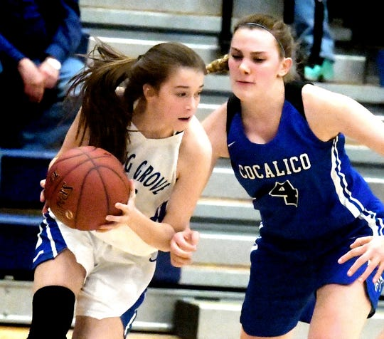 Spring Grove's Ella Kale drives the baseline with Cocalico's Corrie Lesco defending in a District 3 Class 5-A girls' basketball game at Spring Grove Tuesday, Feb. 19, 2019. Spring Grove won 55-35. Bill Kalina photo