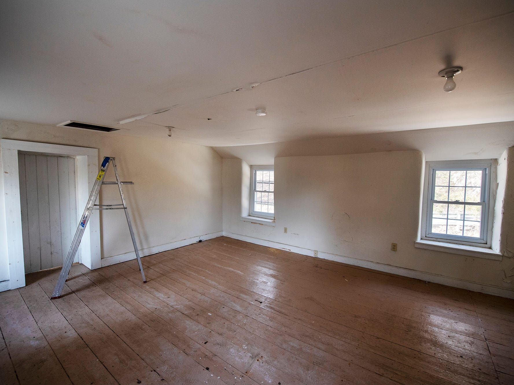 This is an upstairs room of the most recent Welsh quarrymen's cottage acquired in Peach Bottom Township February 19, 2019.