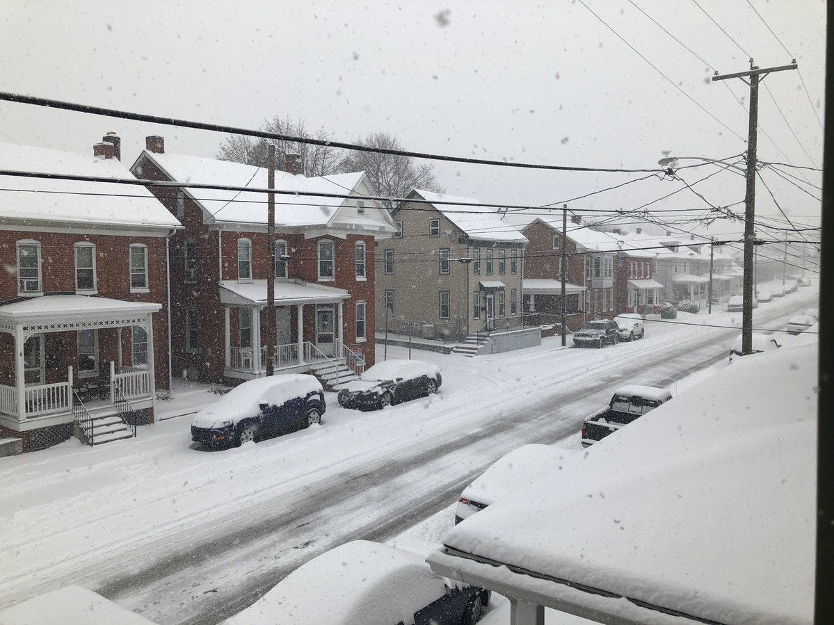 Here's a view from Penn Street in Hanover, after a plow passed through.
