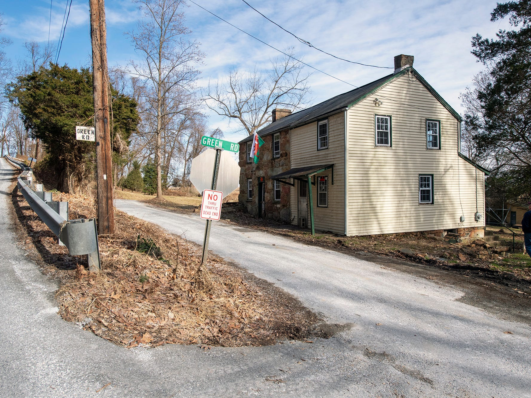 Green Road winds off Ridge Road into Coulsontown in Peach Bottom Township on February 19, 2019, passing the most recently purchased Welsh quarrymen's cottage.