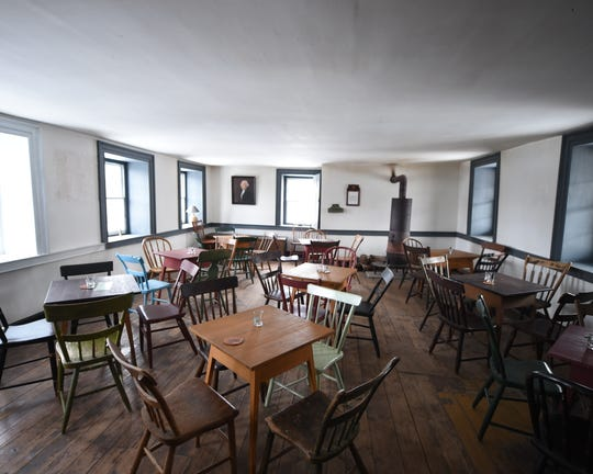 The dining room on the second floor of the historic Dill's Tavern in Dillsburg. The tavern, which dates back to 1794, is open to the public on First Fridays and is also a wedding venue.