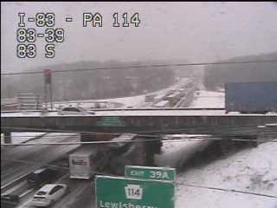 Traffic is backed up on I-83 near the Lewisberry Road interchange in northern York County.