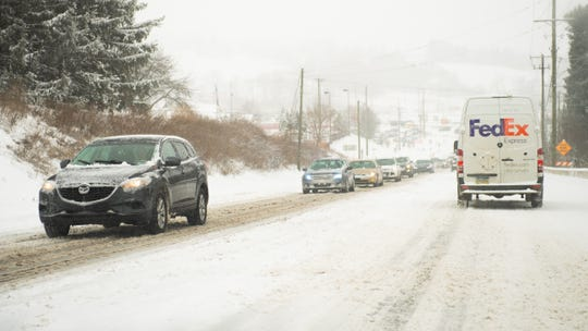This is the scene on Mt. Rose Avenue as cars struggle to climb the hill on February 20, 2019.