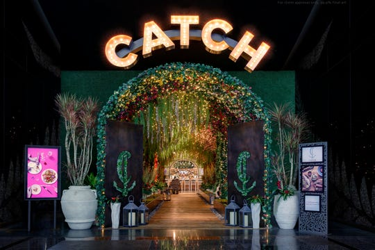 CATCH in Aria Resort & Casino. An 80-foot flowered pergola marks the entrance to Catch, a modern seafood restaurant.