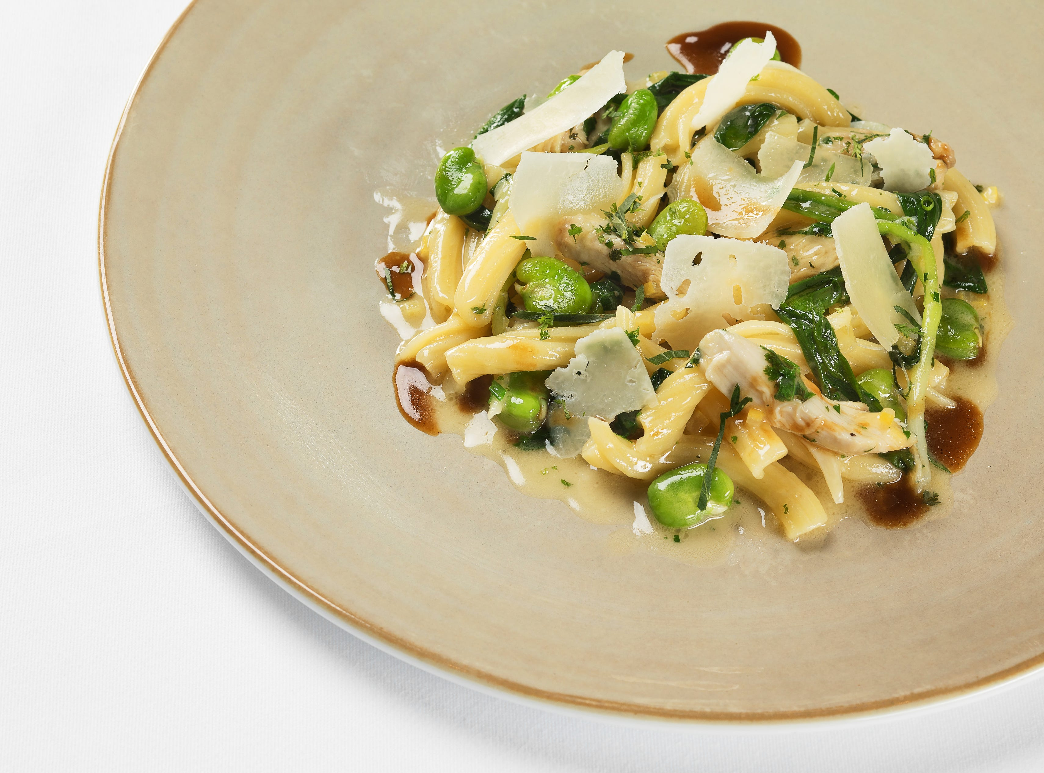 SPAGO in Bellagio Resort & Casino. Ah, spring! Rabbit garganelli with ramps and fava beans.