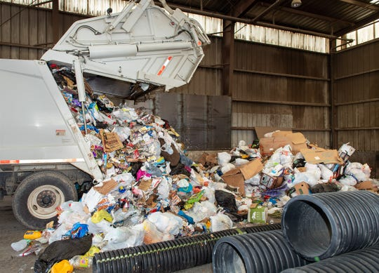 Trash is dumped at the Yerington Transfer Station.