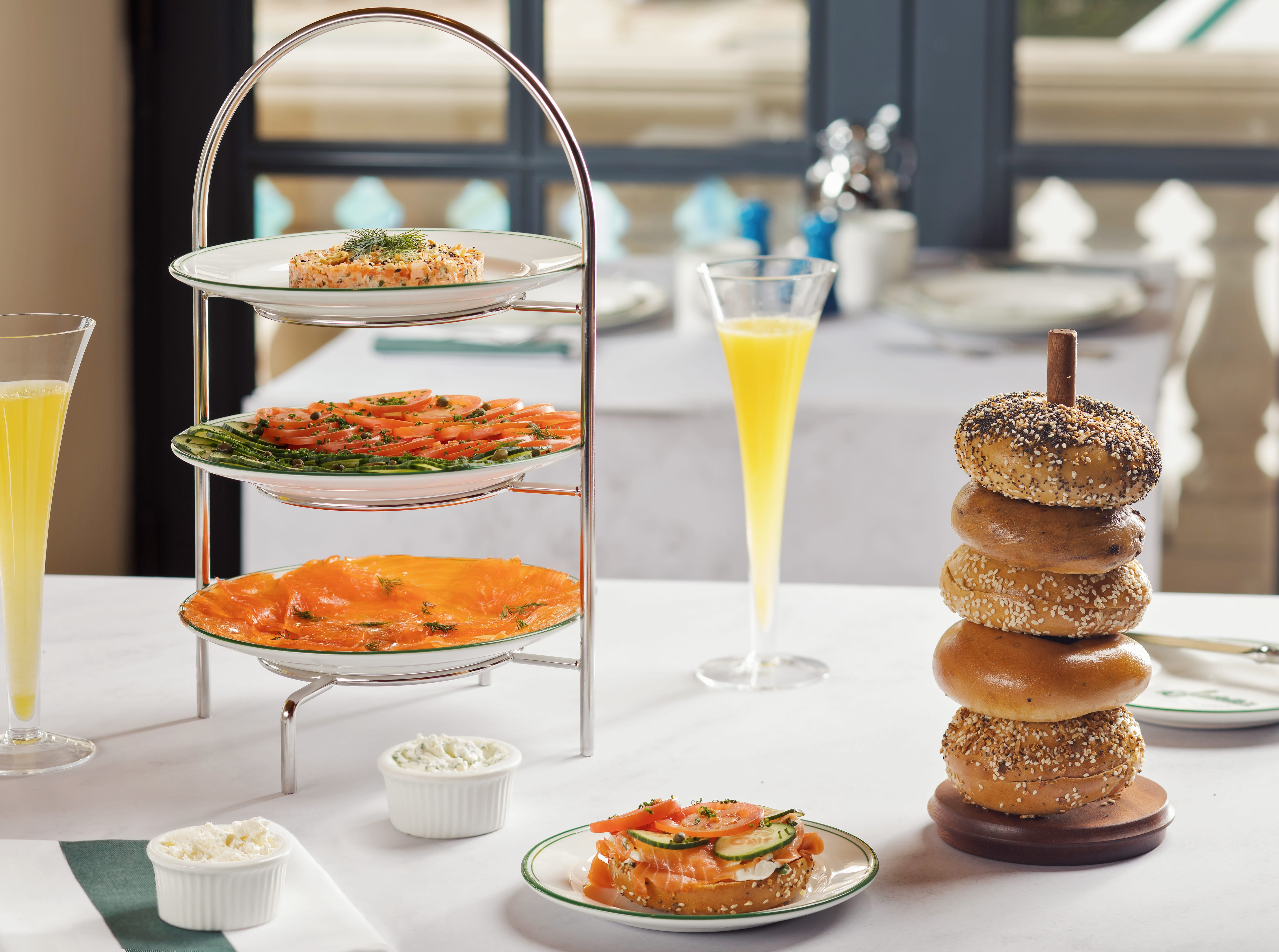 SADELLE'S in Bellagio Resort & Casino. A tea curate offers salmon salad and house salmon served with house bagels.