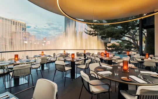 SPAGO in Bellagio Resort & Casino. The restaurant's dining terraces overlooks the Bellagio fountains.