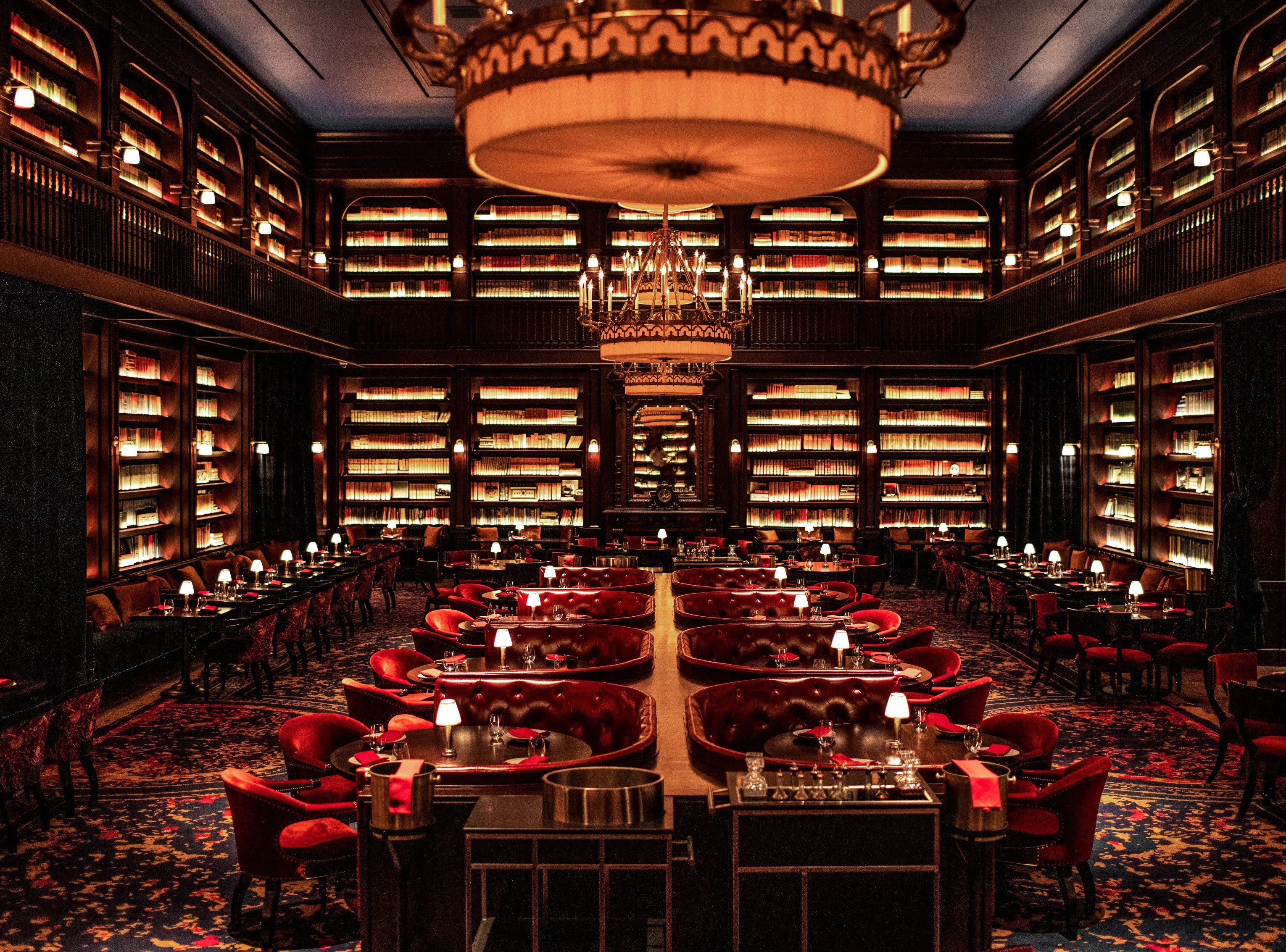 NOMAD RESTAURANT AND BAR in NoMad Las Vegas. The soaring restaurant draws inspiration from the NoMad Library in New York (and from grand public and private libraries of the 19th and early 20th centuries).