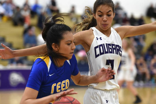 Spanish Springs's Jada Townsell covers Reed's Larsa Guman as she moves the ball up the court on Jan. 29, 2019.