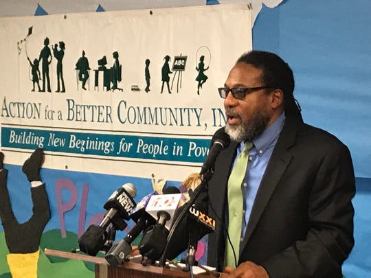 Jerome Underwood speaks at the press conference announcing his appointment as president and CEO of Action for a Better Community in January 2019.