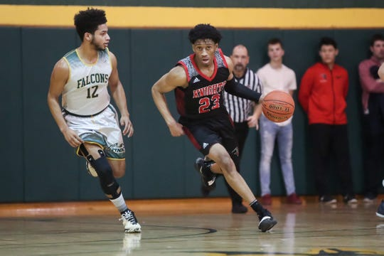 Northstar Christian Academy guard Miles Brown (23) brings the ball upcourt against C.G. Finney during a Section V high school boys basketball game at C.G. Finney. Brown is the all-time leading scorer in Section V boys basketball history.