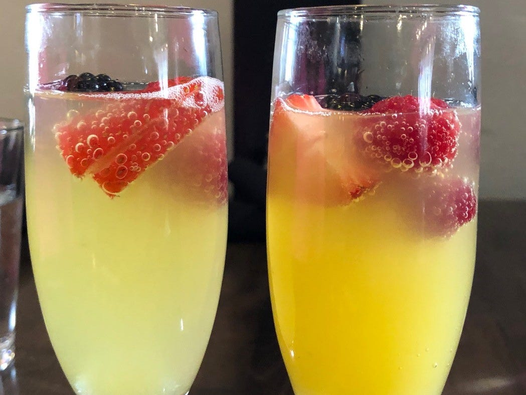 In February 2019, mimosas from the do-in-yourself mimosa bar at Vintage Public House.