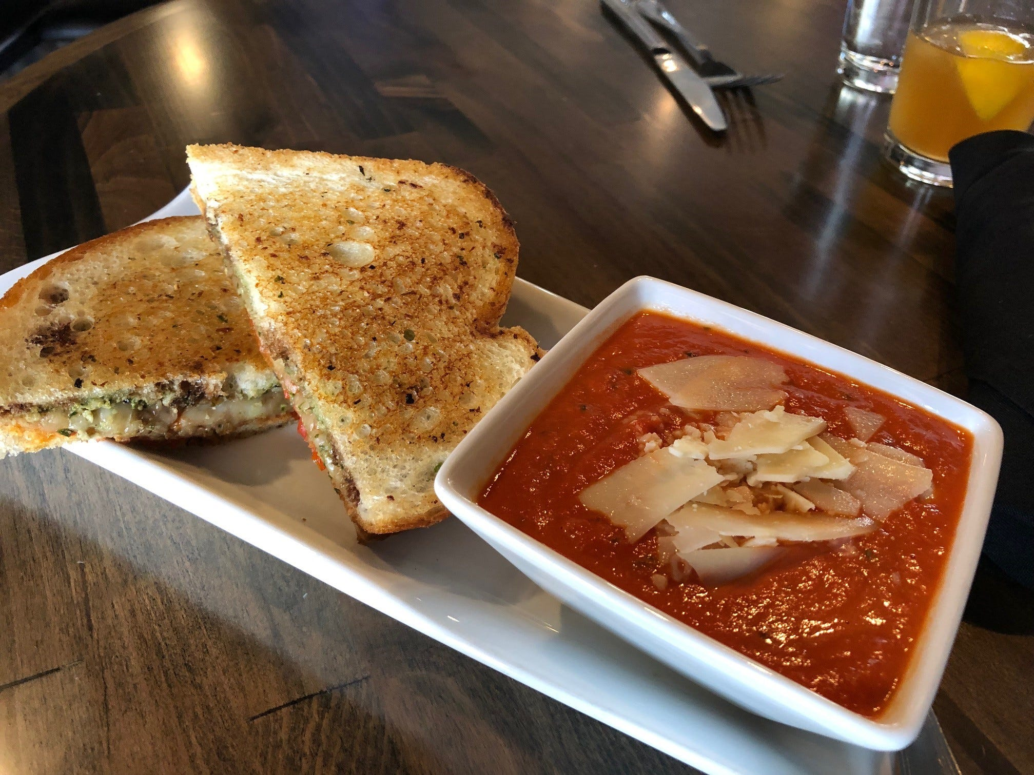 A caprese sandwich with tomato basil soup is one of the grilled cheese lunch specials during the month of February at Vintage Public House.