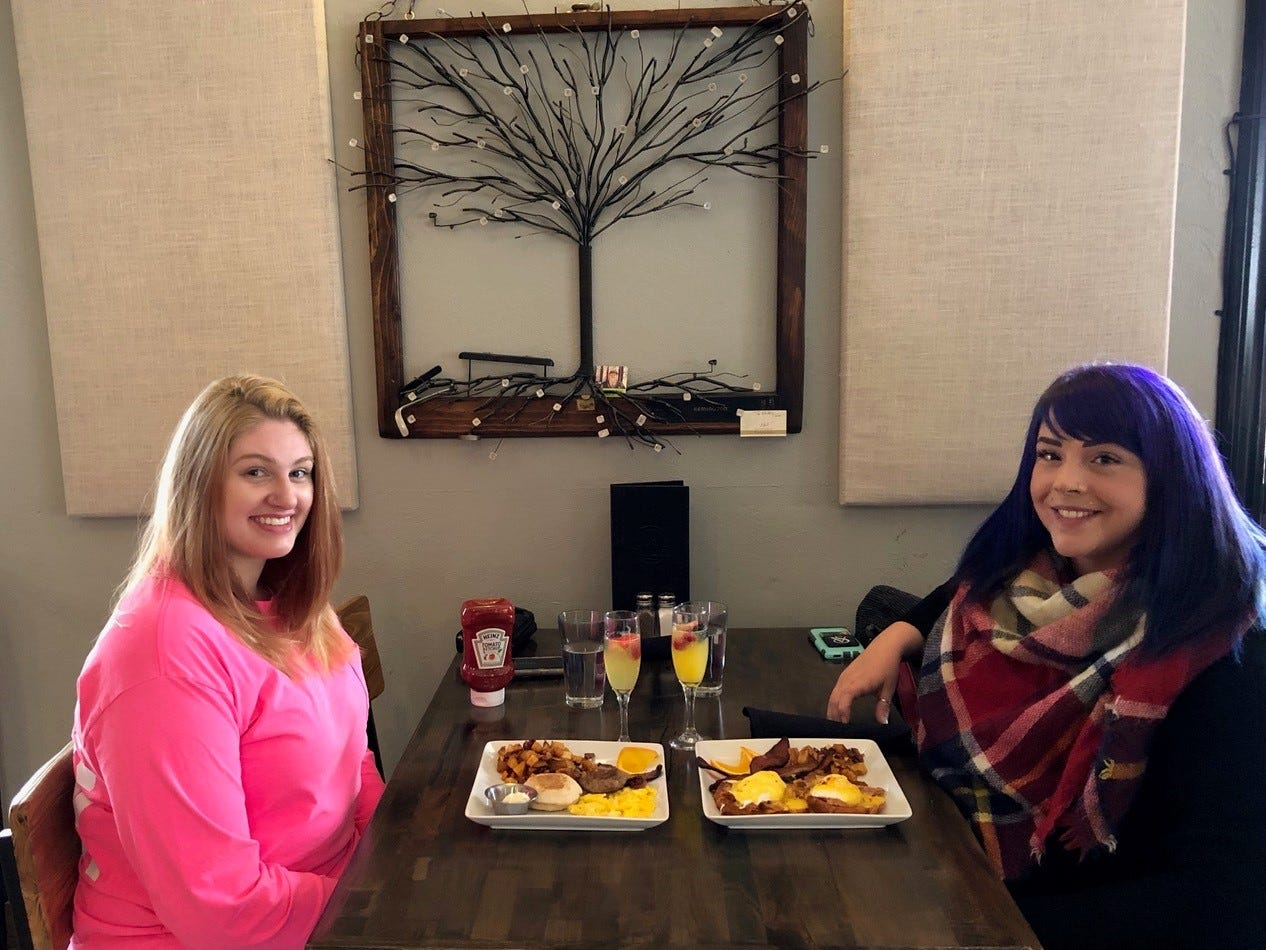 In February 2019, Whitney Martini, left, and Ashley Willets try the new Sunday brunch at the Vintage Public House in downtown Redding.