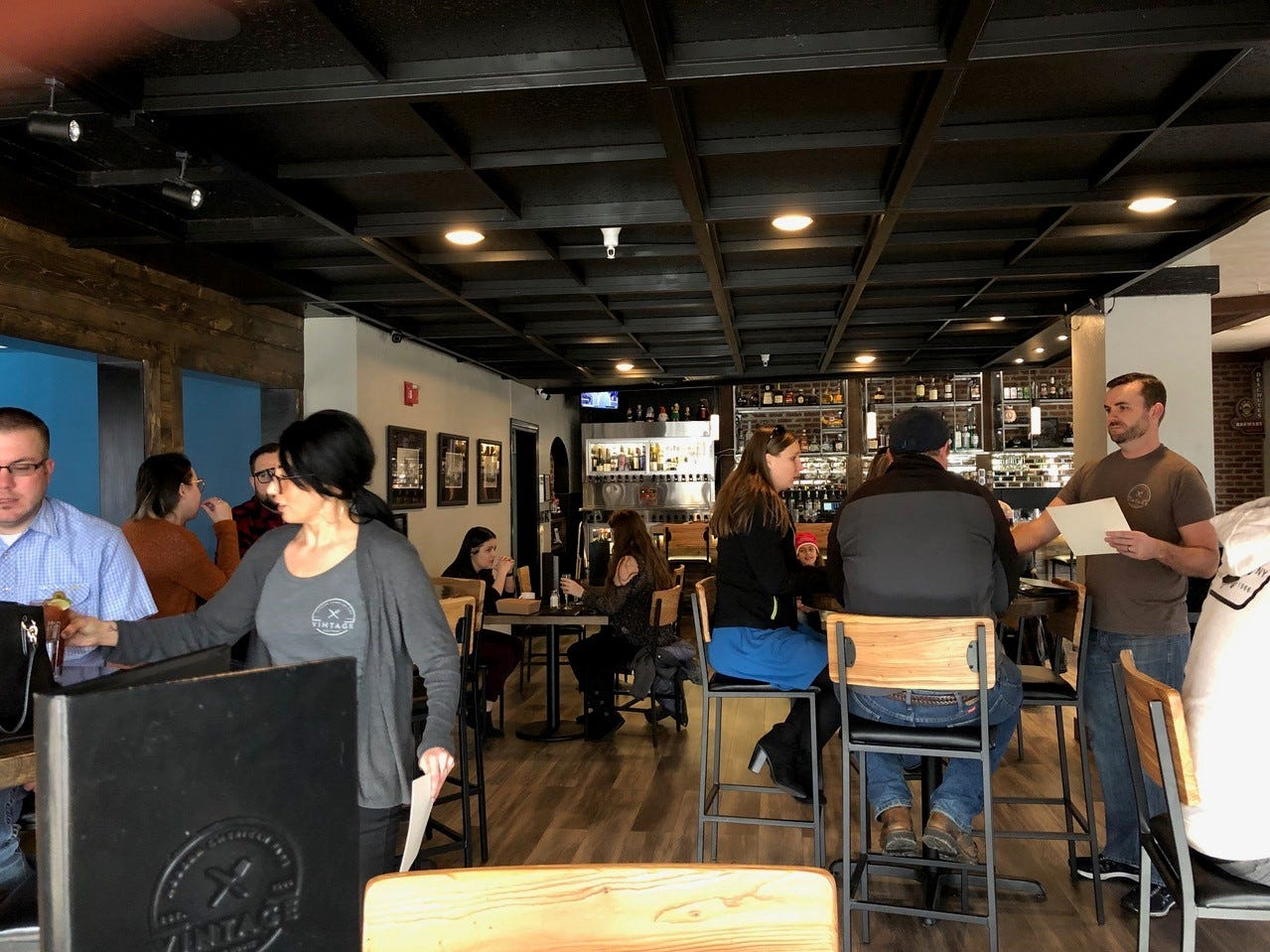 In February 2019, diners are seen at the Sunday brunch at the Vintage Public House in downtown Redding.