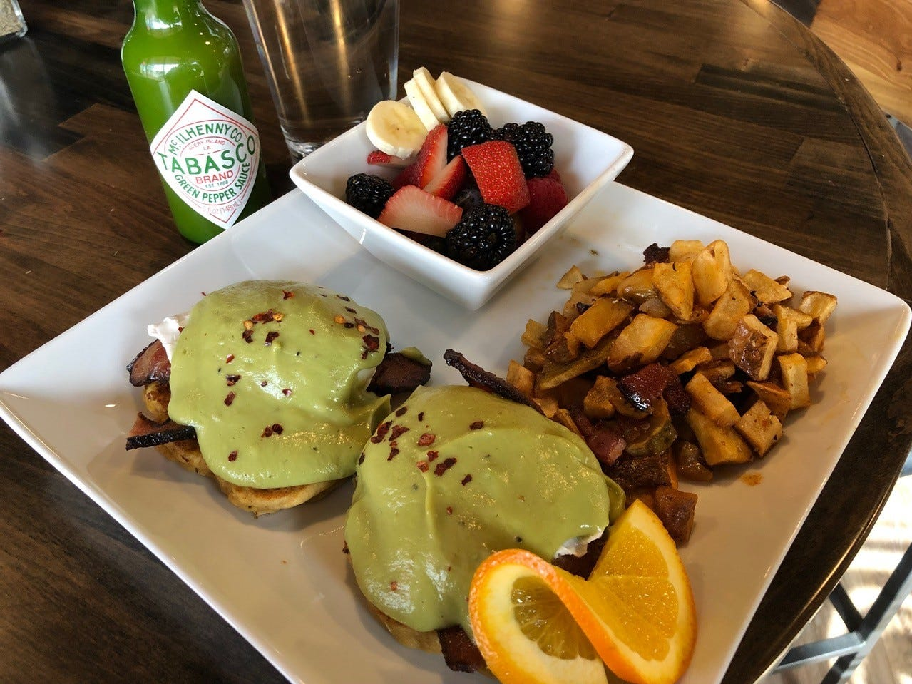 In February 2019, sweet corn cakes eggs Benedict with avocado hollandaise are on the Sunday brunch menu at Vintage Public House in Redding.