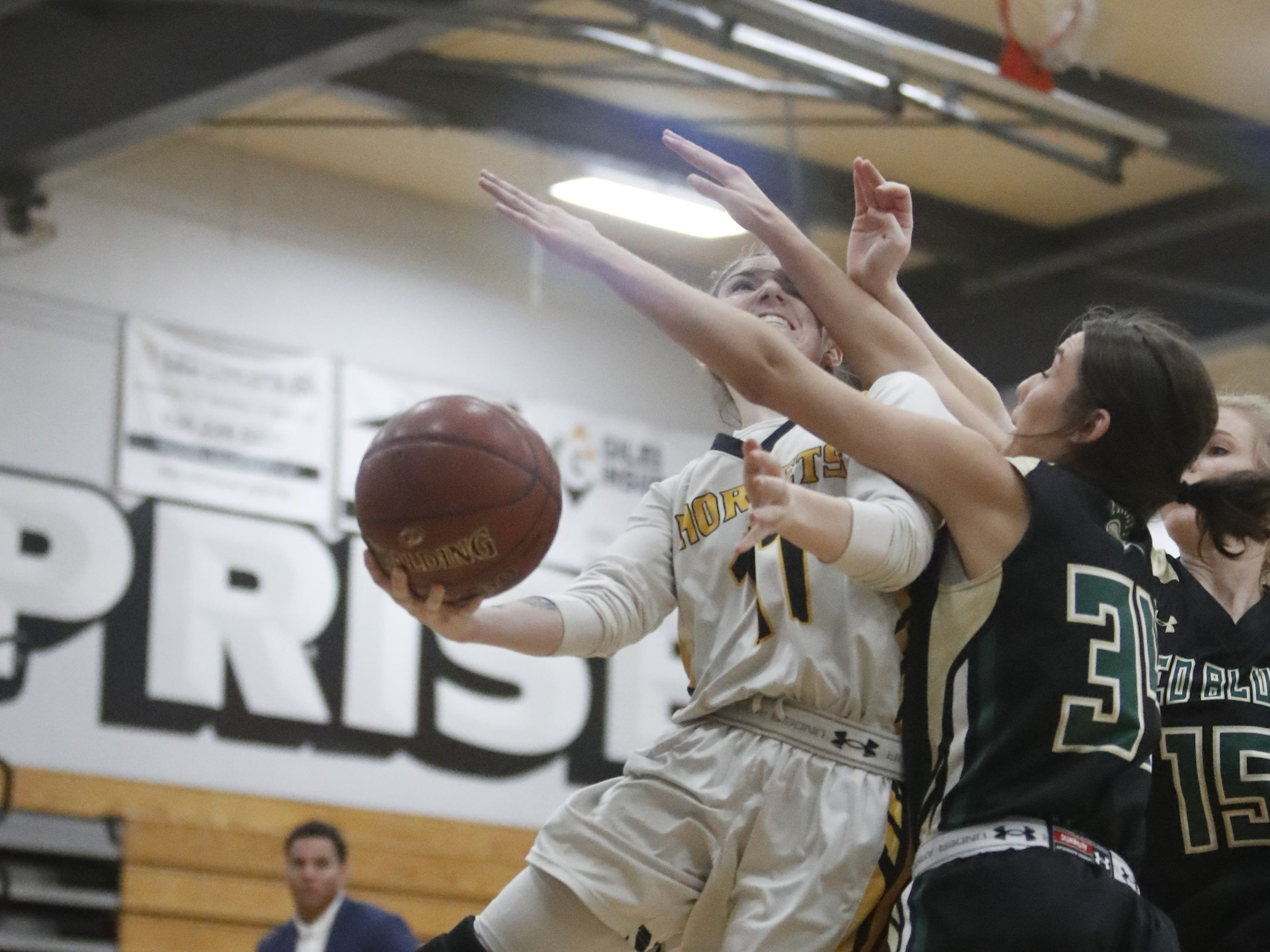 Red Bluff senior Hayden Ellenberger (right) tries to block a shot from Enterprise senior Karina Archibald during the Hornets' 77-36 win over Red Bluff on Tuesday, Feb. 19, in the Division III Northern Section semifinals.