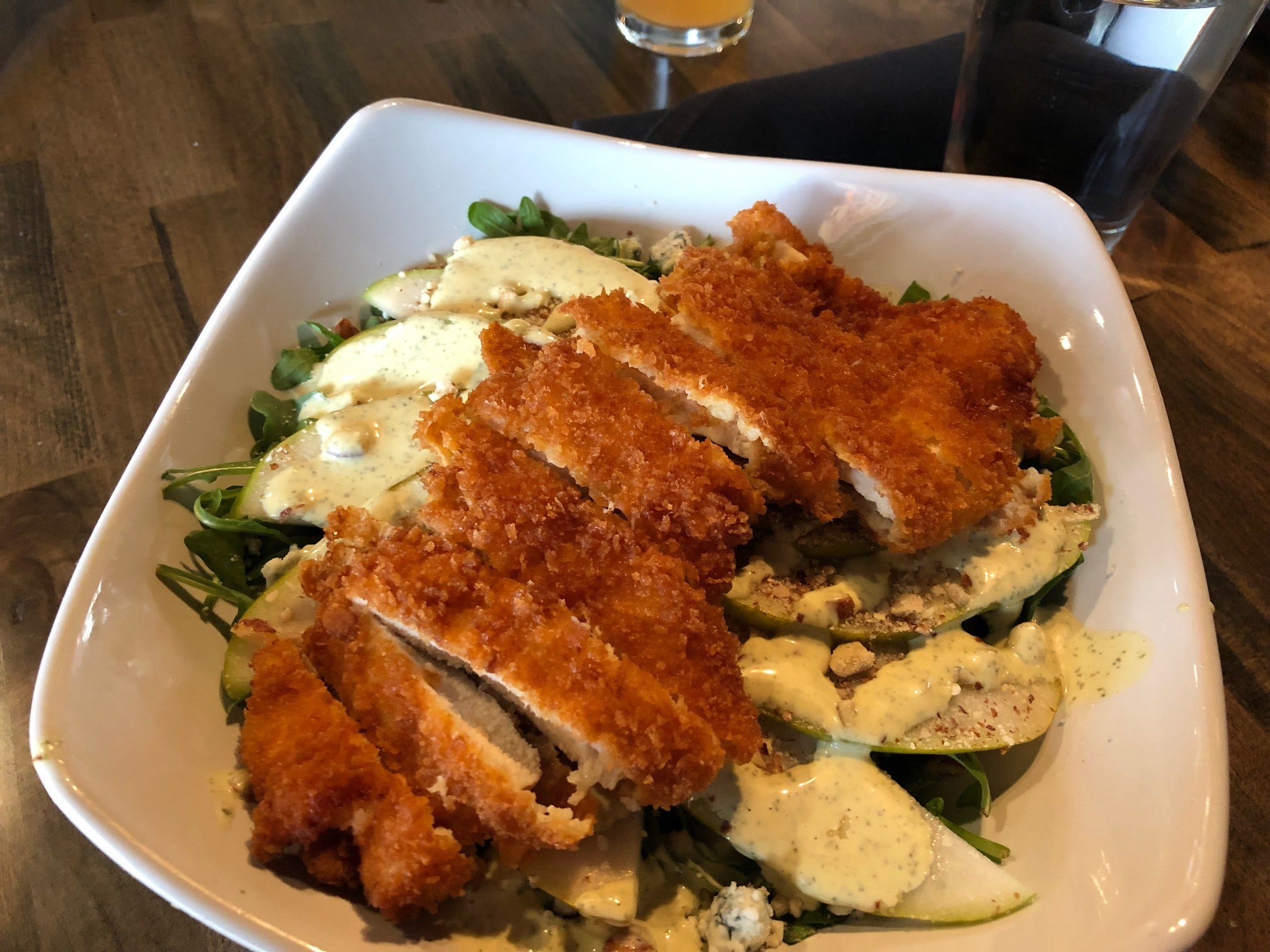 In February 2019, the Gorgonzola pear & chicken salad on the brunch and lunch menu is seen at Vintage Public House.