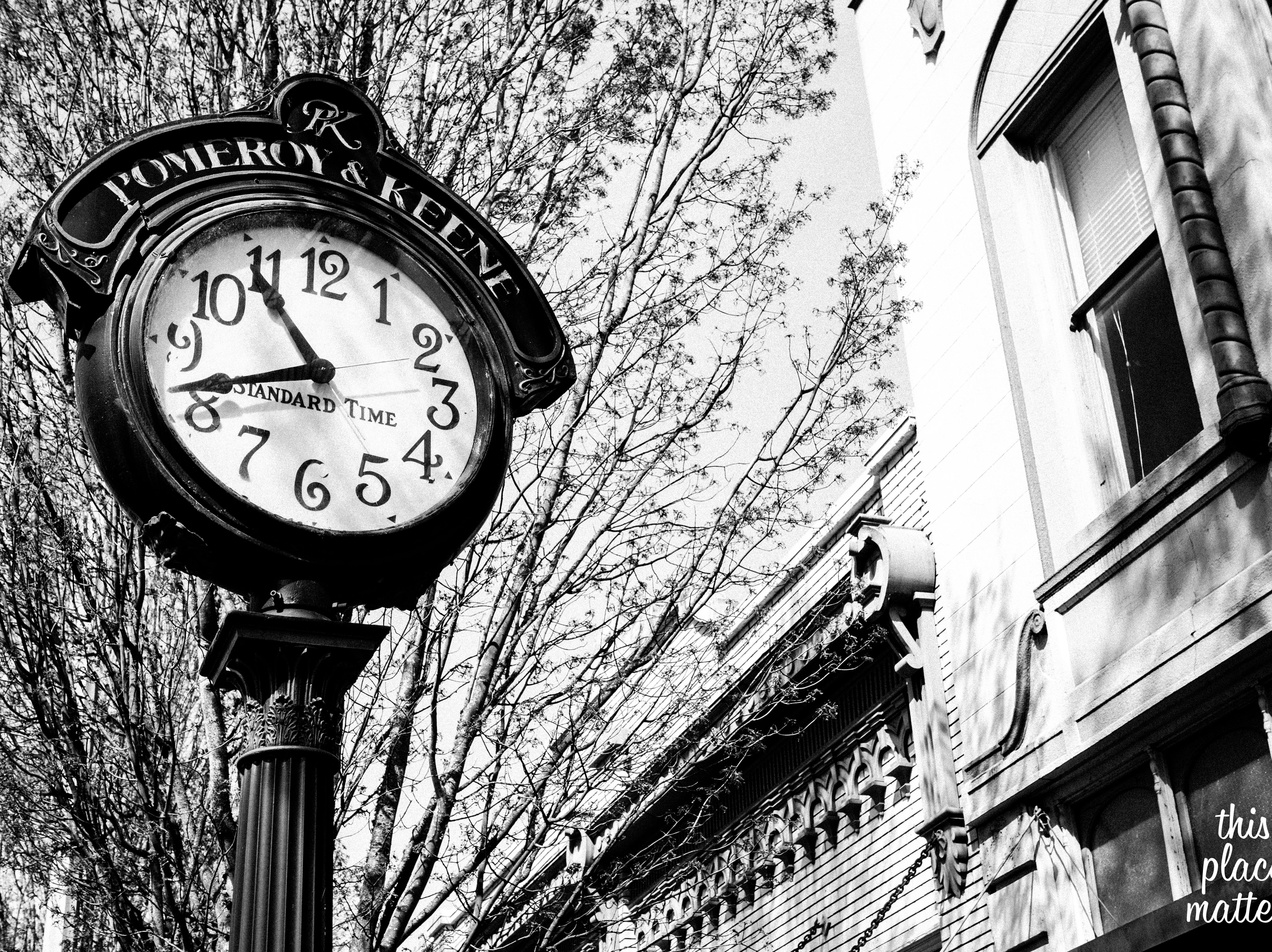 This photograph of the Pomeroy & Keene Clock, by Holly Hayes, won first place in the Best Historic Neighborhood Category in 2018.