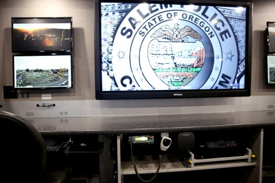 A central work space in the Salem Police Mobile Command Unit, parked outside the Salem Convention Center on Tuesday, Feb. 19, 2019.