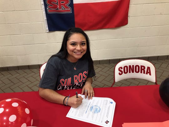 Sonora's Karah Martinez signs to continue her volleyball career for Sul Ross State University, Feb. 20, 2019.