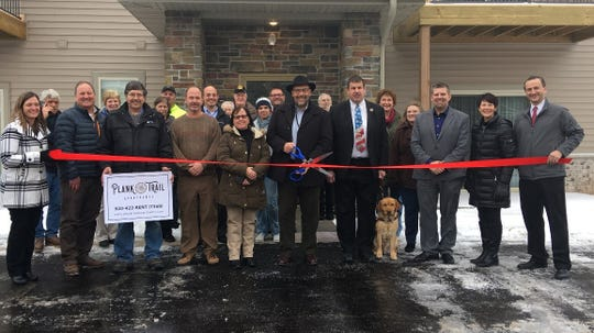 Members of the Sheboygan Falls Chamber of Commerce, City Officials and local business leaders joined Doneff Companies LLC in celebrating the ribbon cutting and grand opening of the new Plank Trail Apartments at 1055 Happy Lane on Monday, Feb. 11.
